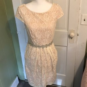 Pink lace bridal esq dress